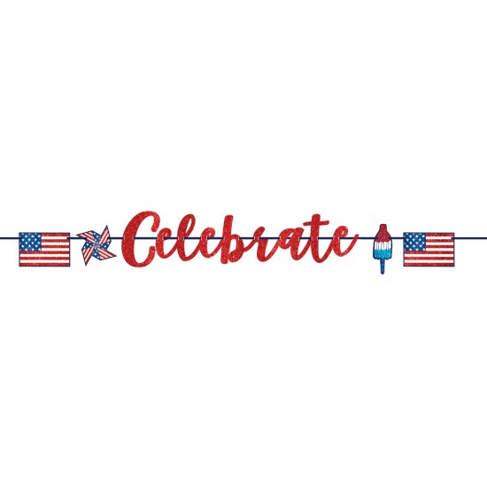 4th of July Celebrate USA Glitter Banners 3.65m - 6 PC