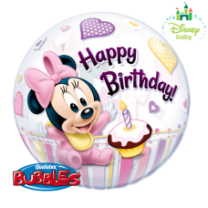 22 INCH SINGLE BUBBLE MINNIE MOUSE 1ST BDAY