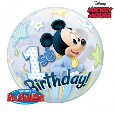 22 inch SINGLE BUBBLE MICKEY MOUSE 1ST BDAY