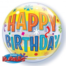 22 inch SINGLE BUBBLE BDY FUN & YELLOW STARS