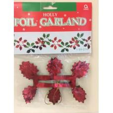 Red/Green Foil Holly Garland