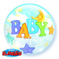 22 INCH SINGLE BUBBLE Baby BOY MOON & STARS