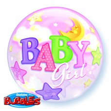 22 inch SINGLE BUBBLE Baby GIRL MOON & STARS