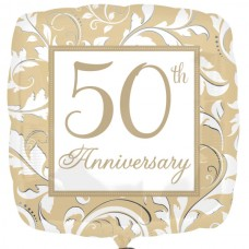 SD-SQ:Gold Elegant Scroll 50th Anniversary