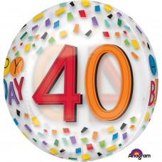 Orbz:Happy 40th Birthday Rainbow Clear