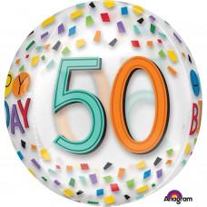 Orbz:Happy 50th Birthday Rainbow Clear