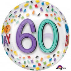 Orbz:Happy 60th Birthday Rainbow Clear
