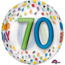 Orbz:Happy 70th Birthday Rainbow Clear