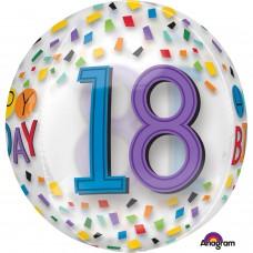 Orbz:Happy 18th Birthday Rainbow Clear