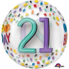 Orbz:Happy 21st Birthday Rainbow Clear