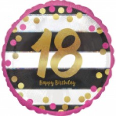 18 inch Pink & Gold Foil Balloon Age 18