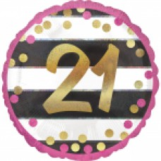 18 inch Pink & Gold Foil Balloon Age 21