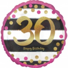 18 inch Pink & Gold Foil Balloon Age 30