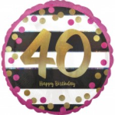 18 inch Pink & Gold Foil Balloon Age 40