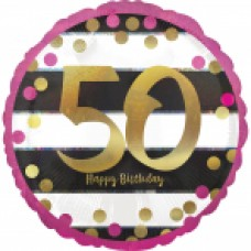 18 inch Pink & Gold Foil Balloon Age 50
