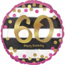 18 inch Pink & Gold Foil Balloon Age 60