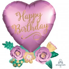S/Shape:Birthday Satin Heart with Flowers