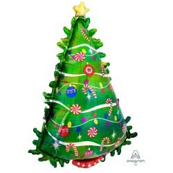 Green Christmas Tree Holographic S/Shape