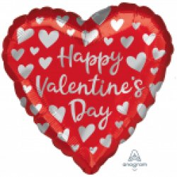 Happy Valentine's Simple Silver Hearts Standard HX Foil Ball