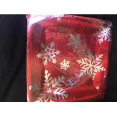 PLATE 26.6cm sqr met:ELEGANT ENTERTNG red