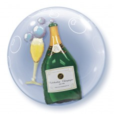 24 inch DOUBLE BUBBLE BUBBLY WINE BOTTLE & GLASS