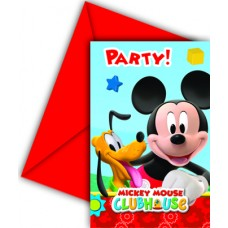 Mickey Mouse Birthday Party Invitations. Pack contains 6 inv
