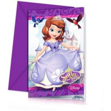 Sofia the First Birthday Party Invitations. Pack contains 6