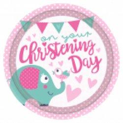 Christening Pink Plate 23cm