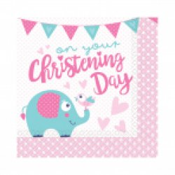 Christening Pink Napkin 33cm