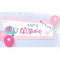 Christening Pink Persli Banner
