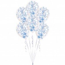 BALLOON 6pk with Confetti Blue