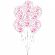 BALLOON 6pk with Confetti Pink