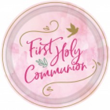 First Holy Communion Pink Paper Plates