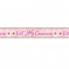 First Holy Communion Pink Foil Banner