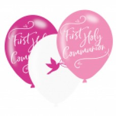 First Holy Communion Pink Latex Balloons 6