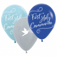 First Holy Communion Blue Latex Balloons 6