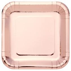Metallic Rose Gold Square Plates 23cm - 6 PKG/8