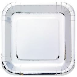 Metallic Silver Square Paper Plates 23cm - 6 PKG/8