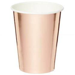 Metallic Rose Gold Cups 250ml - 6 PKG/8