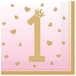1st Birthday Pink Luncheon Napkins 33cm - 12 PKG/16