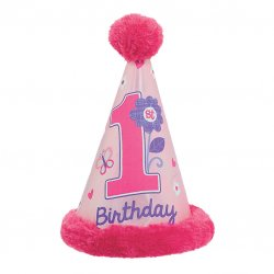 HAT CONE FAUX FUR SWEET BDAY