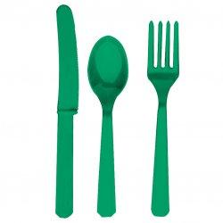 CUTLERY ASST pk24:festiv green