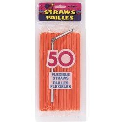 50  Pumpkin Orange Designer Flex Straws