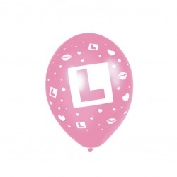 L Plate Pink Latex Balloons-disc