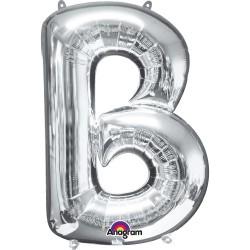 "Letter B Supershape Silver Foil Balloon 34"""