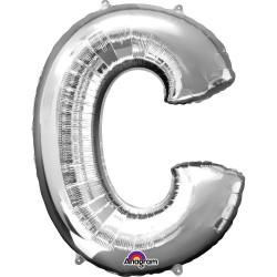 "Letter C Supershape Silver Foil Balloon 34"""