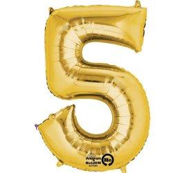 "Number 5 Minishape Gold Foil Balloon 16"""