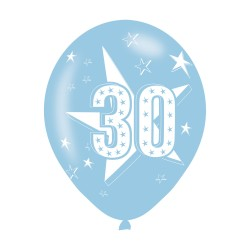 BALLOON  pk6 27cm Age 30 Blue