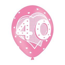 BALLOON  pk6 27cm Age 40 Pink