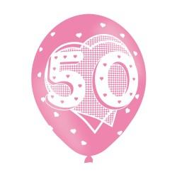 BALLOON  pk6 27cm Age 50 Pink